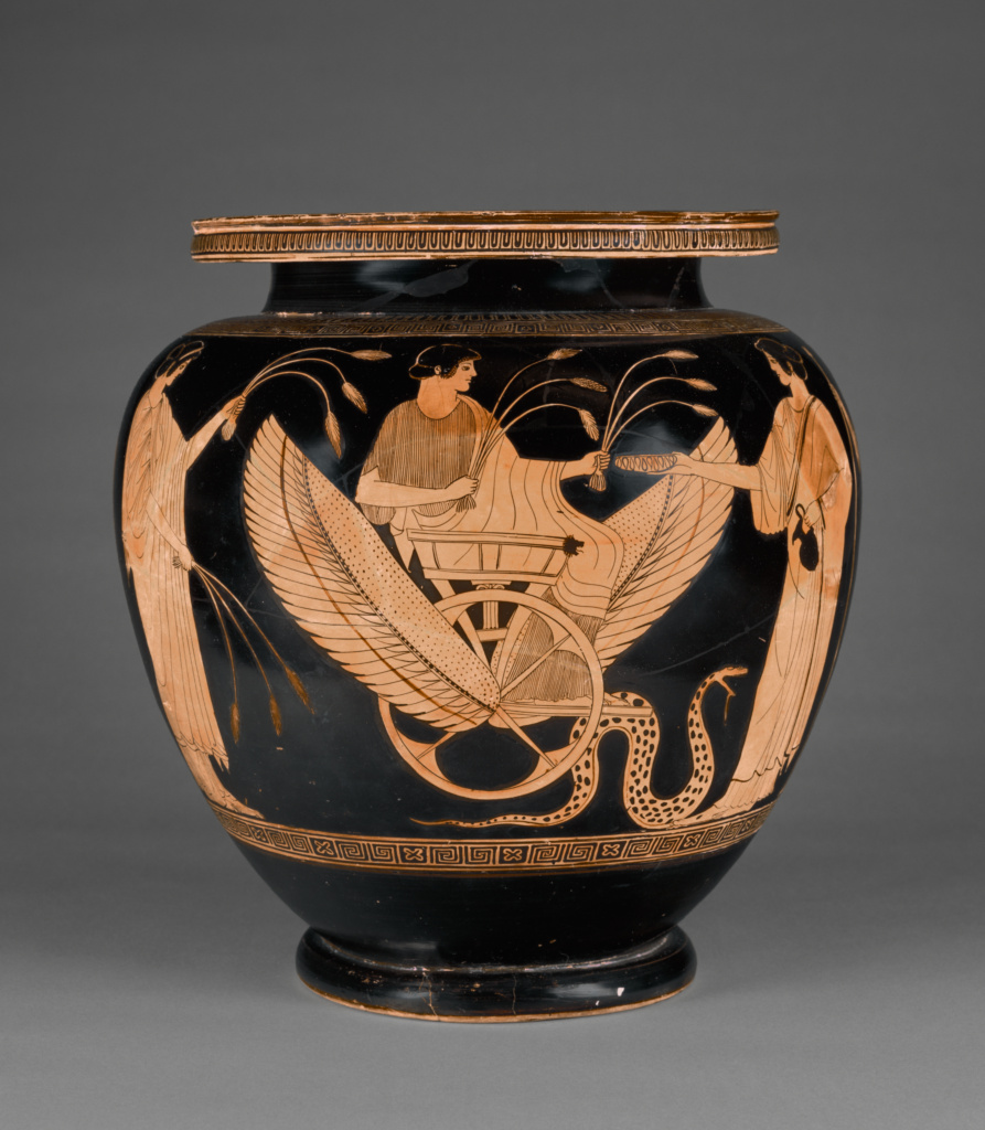 Attic Red-Figure Footed Dinos; Attributed to the Syleus Painter (Greek (Attic), active 490 - 470 B.C.); Athens, Greece; about 470 B.C.; Terracotta; 36.8 × 35.7 cm (14 1/2 × 14 1/16 in.); 89.AE.73; The J. Paul Getty Museum, Villa Collection, Malibu, California; Rights Statement: No Copyright - United States