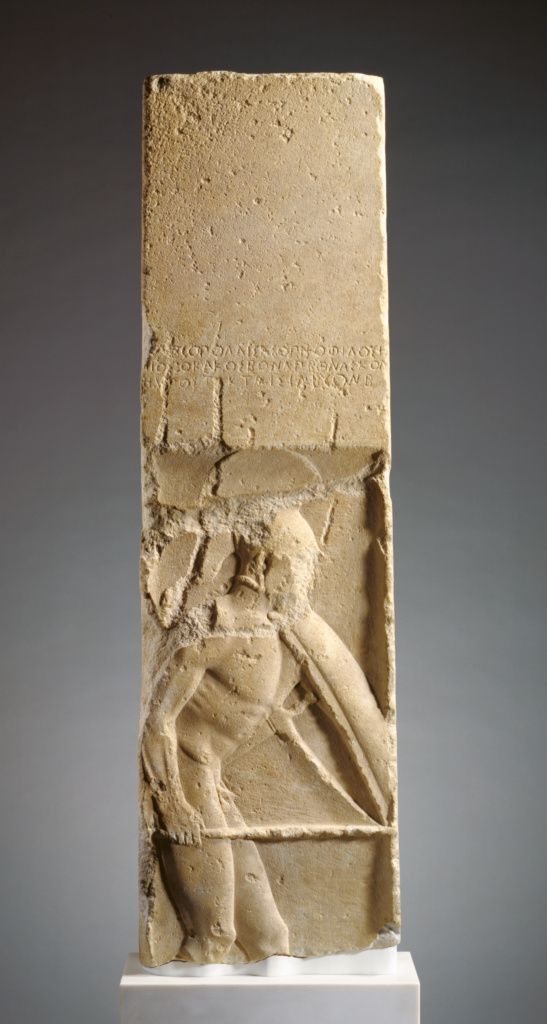 Grave Stele of Pollis; Unknown; Megara, Greece; about 480 B.C.; Parian marble; 153 × 45.1 × 15.9 cm (60 1/4 × 17 3/4 × 6 1/4 in.); 90.AA.129; The J. Paul Getty Museum, Villa Collection, Malibu, California; Rights Statement: No Copyright - United States