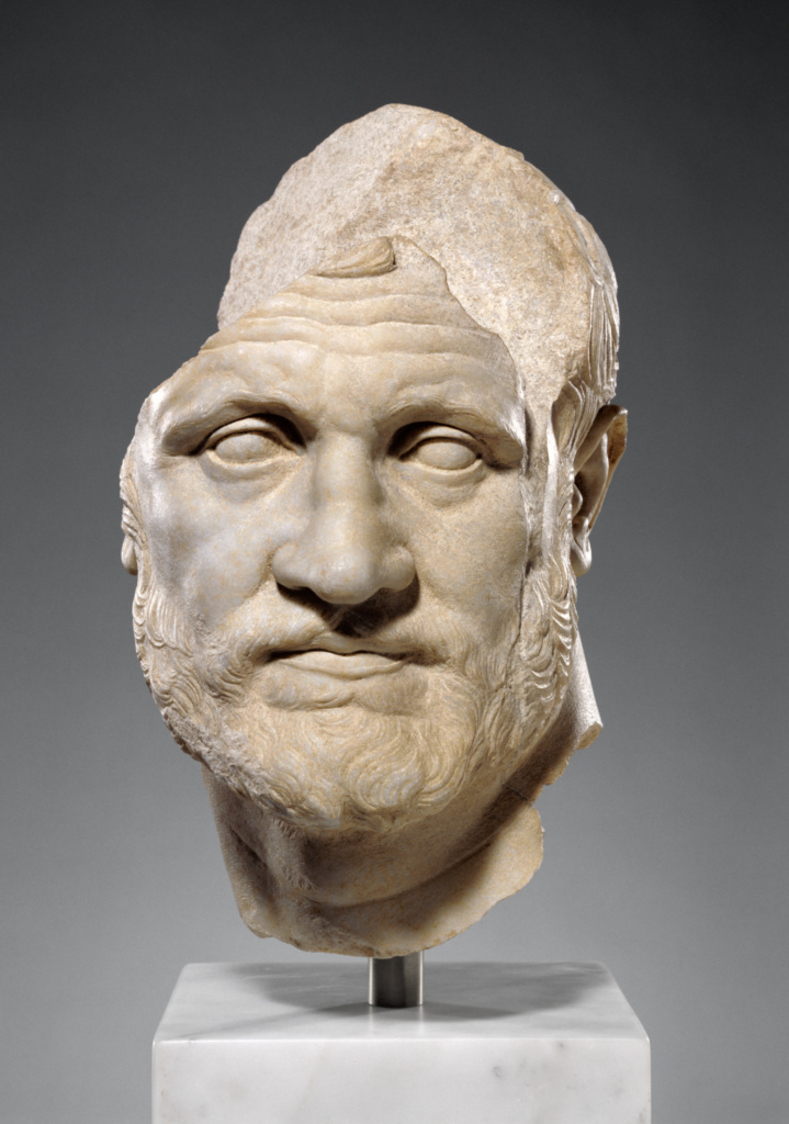 Portrait of a Bearded Man; Unknown; about 150 B.C.; Marble; 40.7 × 25 × 31.7 cm (16 × 9 13/16 × 12 1/2 in.); 91.AA.14; Rights Statement: No Copyright - United States