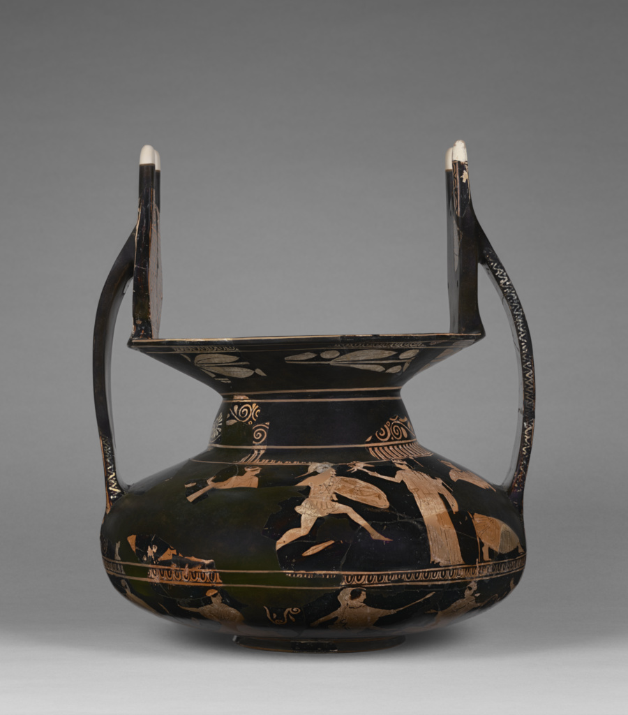 Fragmentary Attic Red-Figure Nestoris; Attributed to Polygnotos (Greek (Attic), active 450 - 430 B.C.); Athens, Greece; about 440 B.C.; Terracotta; 41.6 × 35.9 cm (16 3/8 × 14 1/8 in.); 81.AE.183.2; The J. Paul Getty Museum, Villa Collection, Malibu, California, Anonymous gift; Rights Statement: No Copyright - United States