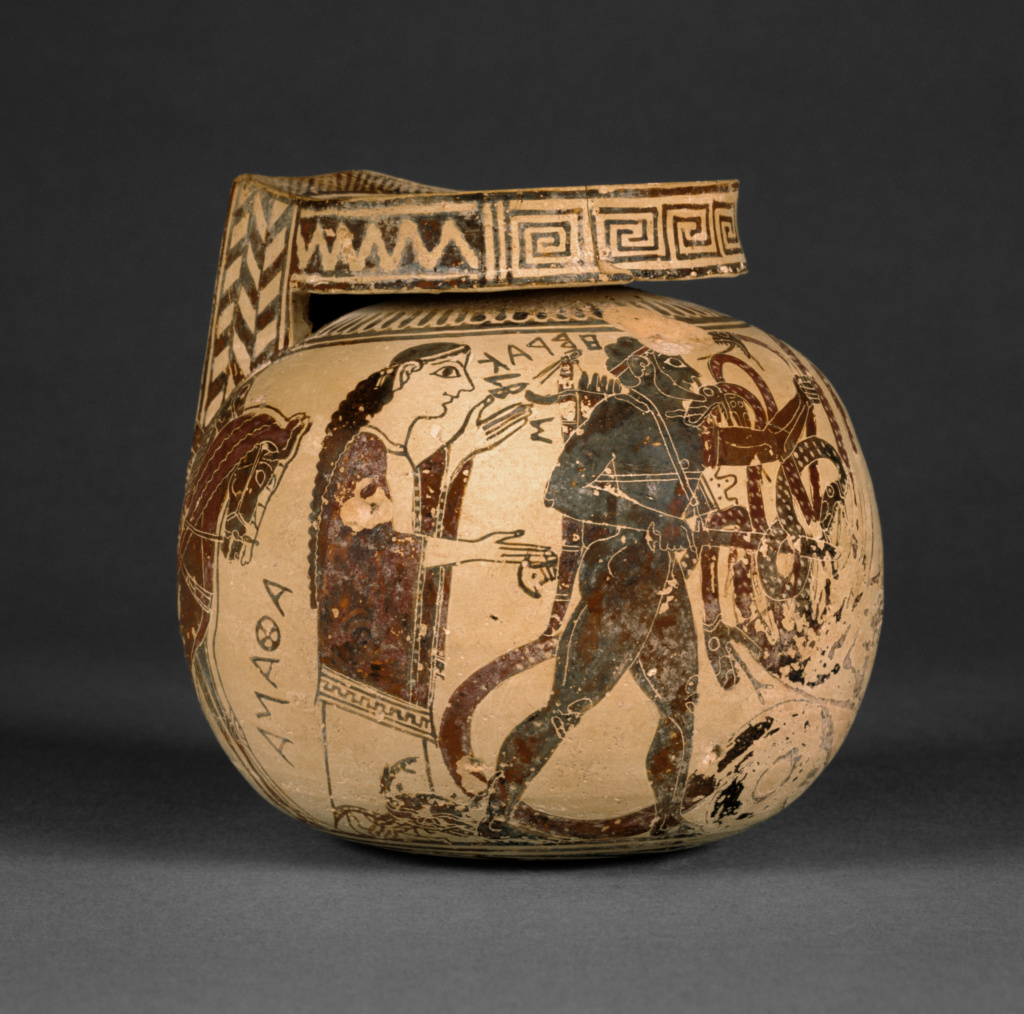 Corinthian Aryballos; Unknown; first quarter of 6th century B.C.; Terracotta; 11.2 × 11.7 cm (4 7/16 × 4 5/8 in.); 92.AE.4; Rights Statement: No Copyright - United States