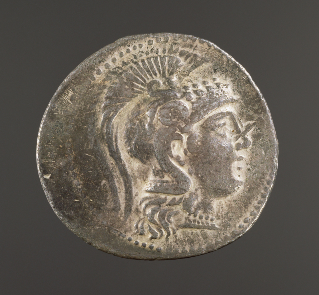 Tetradrachm; Unknown; Athens, Greece; 182–181 B.C.; Silver; 4.4 cm (1 3/4 in.); 80.NH.151.6; The J. Paul Getty Museum, Villa Collection, Malibu, California, Gift of Morton Scribner, M.D.; Rights Statement: No Copyright - United States