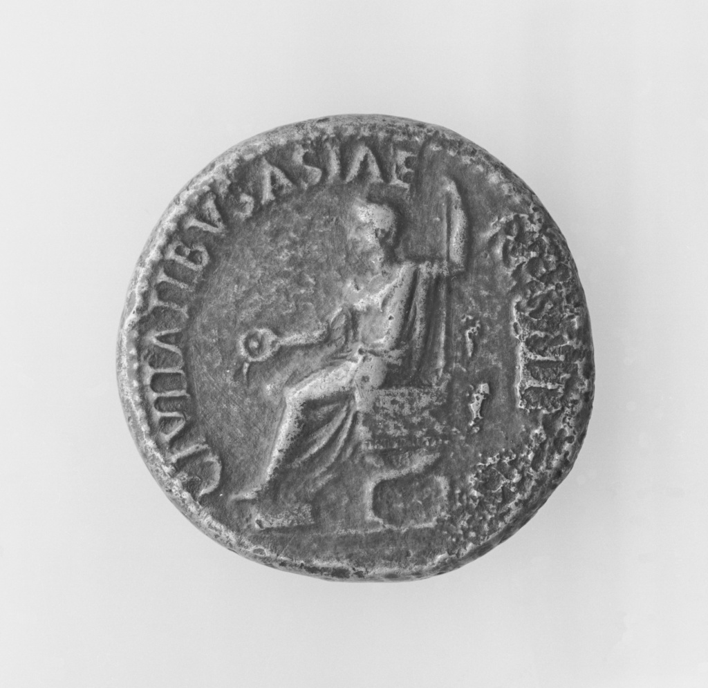 Sestertius of Tiberius; Unknown; Rome, Lazio, Italy; A.D. 14–37; Bronze; 0.0265 kg (0.0584 lb.); 83.NH.425.6; The J. Paul Getty Museum, Villa Collection, Malibu, California, Gift of James T. Worlton; Rights Statement: No Copyright - United States