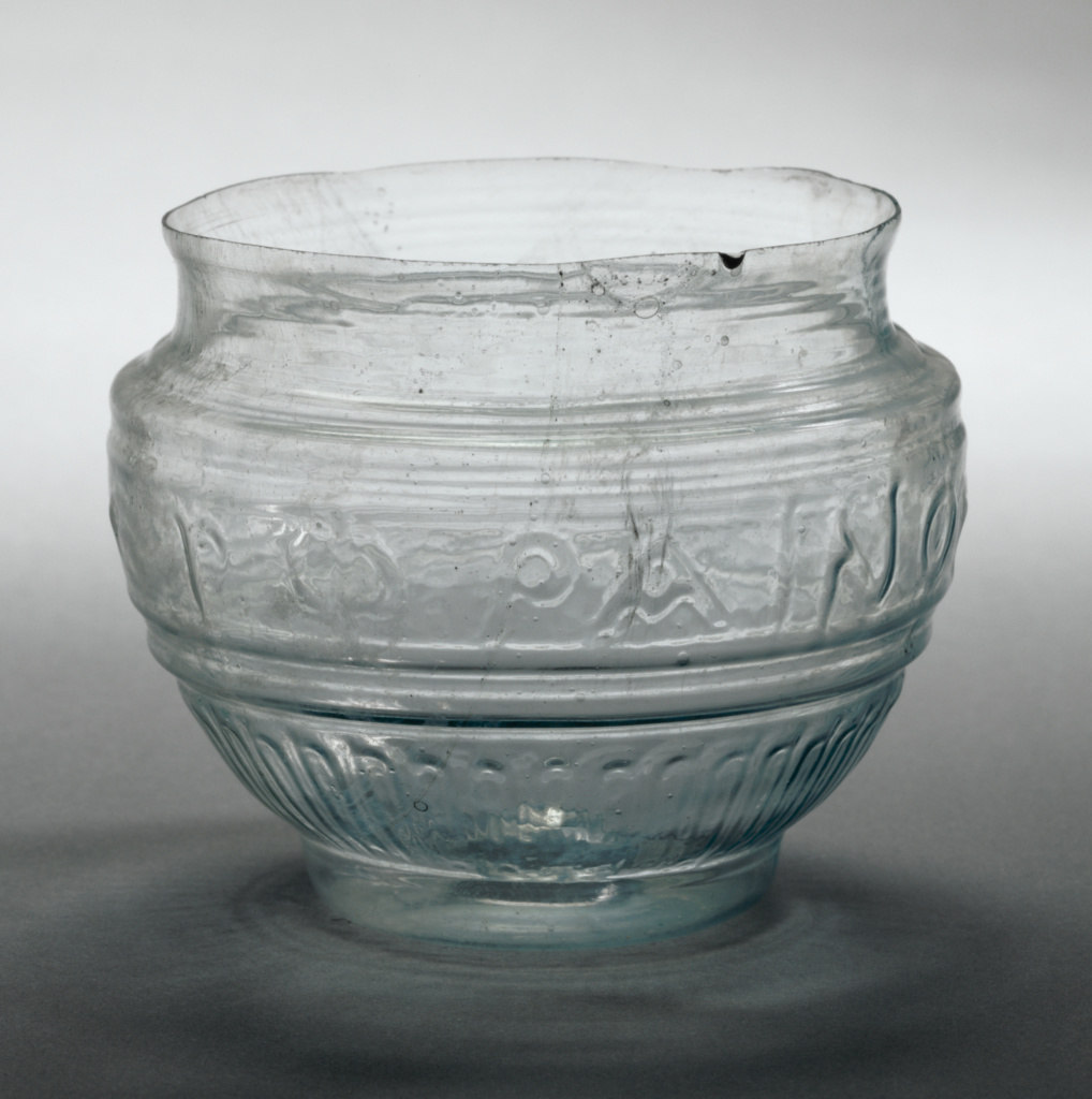 Mold-blown cup; Possibly from the Workshop of Ennion (Greek ?, active about 1 - 50); Roman Empire; first half of 1st century A.D.; Glass; 6.9 cm (2 11/16 in.); 95.AF.60; The J. Paul Getty Museum, Villa Collection, Malibu, California; Rights Statement: No Copyright - United States