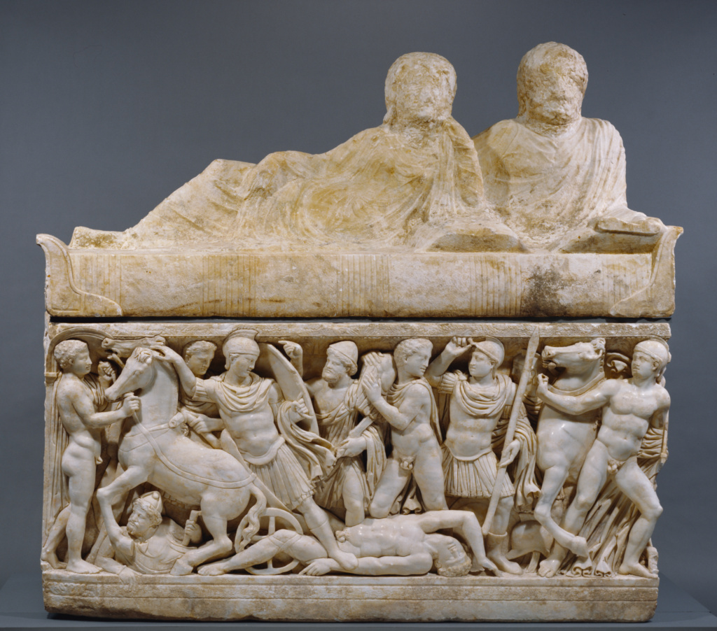 Sarcophagus with lid and 4 unjoined fragments; Unknown maker, made in an Attic workshop; A.D. 180–220; Marble; 134 × 211 × 147 cm (52 3/4 × 83 1/16 × 57 7/8 in.); 95.AA.80; Rights Statement: No Copyright - United States