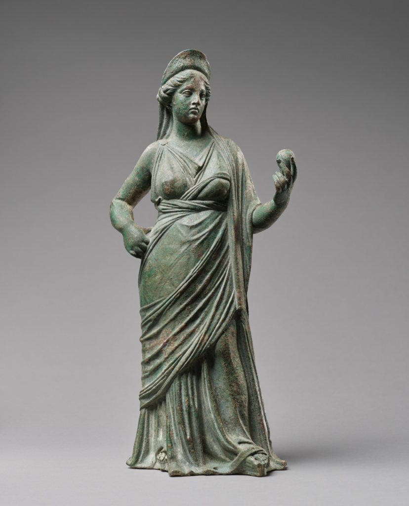 Statuette of Aphrodite; Unknown; first half of 2nd century B.C.; Bronze; 38 × 18.5 × 13.7 cm (14 15/16 × 7 5/16 × 5 3/8 in.); 96.AB.149; Gift of Barbara and Lawrence Fleischman; Rights Statement: No Copyright - United States