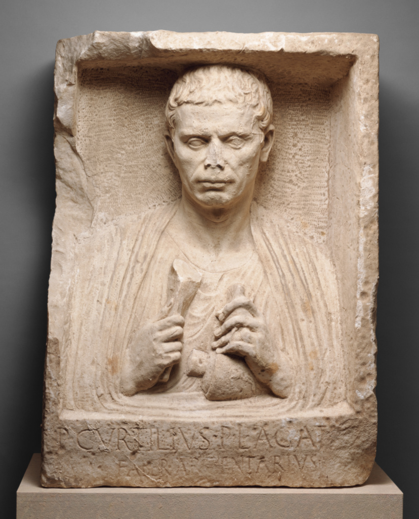 Grave Relief of a Silversmith; Unknown; Roman Empire; first quarter of 1st century A.D.; Marble; 79.9 × 58.5 × 31.7 cm (31 7/16 × 23 1/16 × 12 1/2 in.); 96.AA.40; The J. Paul Getty Museum, Villa Collection, Malibu, California; Rights Statement: In Copyright; Image: Bruce White Photography
