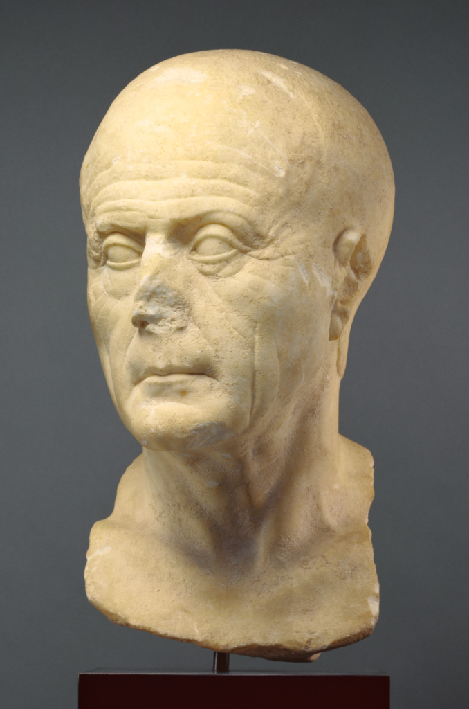 Portrait Head of an Old Man; Unknown; 25 B.C.–A.D. 10; Marble; 34.9 × 17.7 × 24.7 cm (13 3/4 × 6 15/16 × 9 3/4 in.); 96.AA.39; Rights Statement: In Copyright; Image: Bruce White Photography