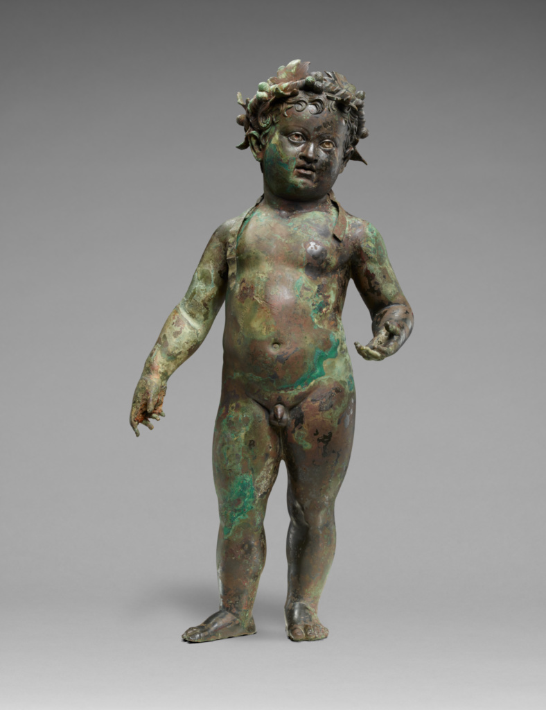 Infant Bacchus; Unknown; 1st century A.D.; Bronze with silver and copper; 64 × 33.5 × 17.8 cm (25 3/16 × 13 3/16 × 7 in.); 96.AB.53; Rights Statement: No Copyright - United States