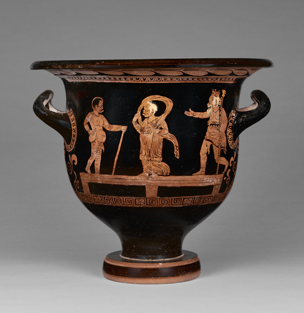 Apulian Red-Figure Bell Krater; Attributed to the Cotugno Painter (Greek (Apulian), active about 370 - 360 B.C.); Apulia, South Italy; 370–360 B.C.; Terracotta; 34 cm (13 3/8 in.); 96.AE.113; The J. Paul Getty Museum, Villa Collection, Malibu, California, Gift of Barbara and Lawrence Fleischman; Rights Statement: No Copyright - United States