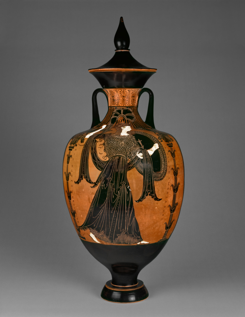 Panathenaic Prize Amphora with Lid; Attributed to the Painter of the Wedding Procession (Greek (Attic), active about 362 B.C.), Signed by Nikodemos (Greek (Attic), active about 362 B.C.); Athens, Greece; 363–362 B.C.; Terracotta; 89.5 cm (35 1/4 in.); 93.AE.55; The J. Paul Getty Museum, Villa Collection, Malibu, California; Rights Statement: No Copyright - United States