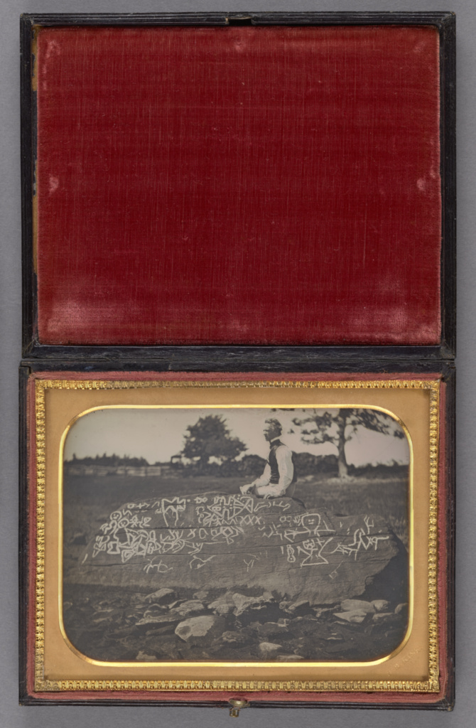 Seth Eastman at Dighton Rock; Horatio B. King (American, 1820 - 1889); July 7, 1853; Daguerreotype; 8.9 × 12.1 cm (3 1/2 × 4 3/4 in.); 84.XT.182; The J. Paul Getty Museum, Los Angeles; Rights Statement: No Copyright - United States