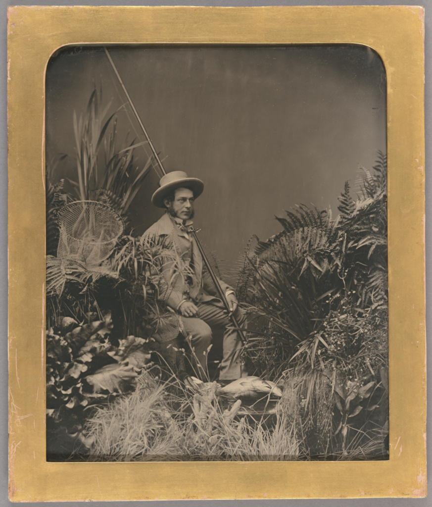 Studio Portrait of a Man Posed with Fishing Gear / The Fisherman; Unknown maker, British; about 1860; Ambrotype; Plate: 26 × 23.4 cm (10 1/4 × 9 1/4 in.); 84.XT.454; The J. Paul Getty Museum, Los Angeles; Rights Statement: No Copyright - United States