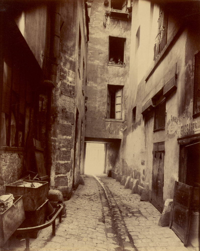Vieille Cour, 22 rue Quincampoix (Old Courtyard, 22 rue Quincampoix); Eugène Atget (French, 1857 - 1927); Paris, France; 1908 or 1912; Albumen silver print; 22.1 × 17.5 cm (8 11/16 × 6 7/8 in.); 86.XM.628; The J. Paul Getty Museum, Los Angeles; Rights Statement: No Copyright - United States