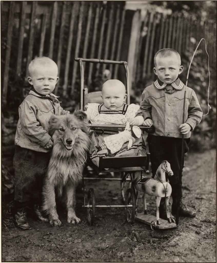 Farm Children, Westerwald; August Sander (German, 1876 - 1964); Westerwald, Germany; 1913; Gelatin silver print; 27.6 × 22.7 cm (10 7/8 × 8 15/16 in.); 84.XM.126.4; The J. Paul Getty Museum, Los Angeles; Rights Statement: In Copyright; Copyright: © J. Paul Getty Trust