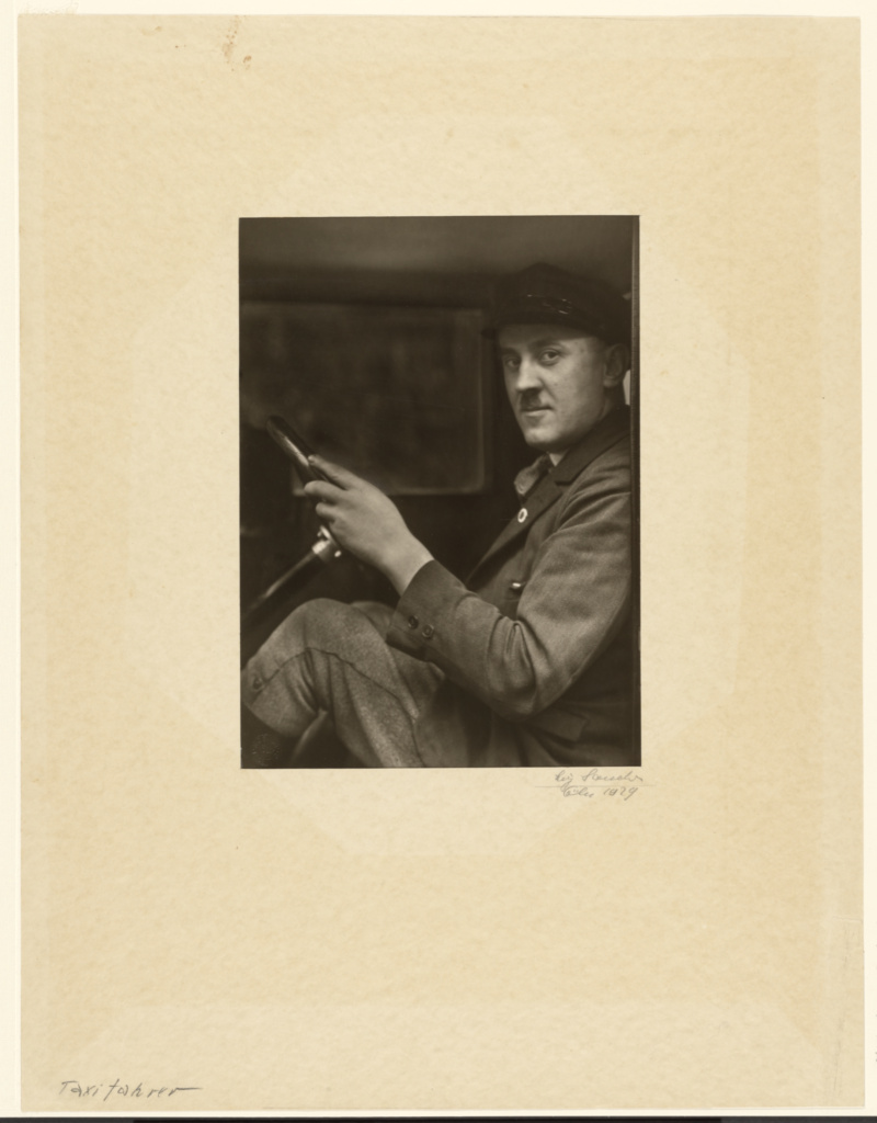 [Taxi driver (Taxifahrer)]; August Sander (German, 1876 - 1964); 1929; Gelatin silver print; 21.9 × 15.9 cm (8 5/8 × 6 1/4 in.); 84.XM.126.120; The J. Paul Getty Museum, Los Angeles; Rights Statement: In Copyright; Copyright: © J. Paul Getty Trust