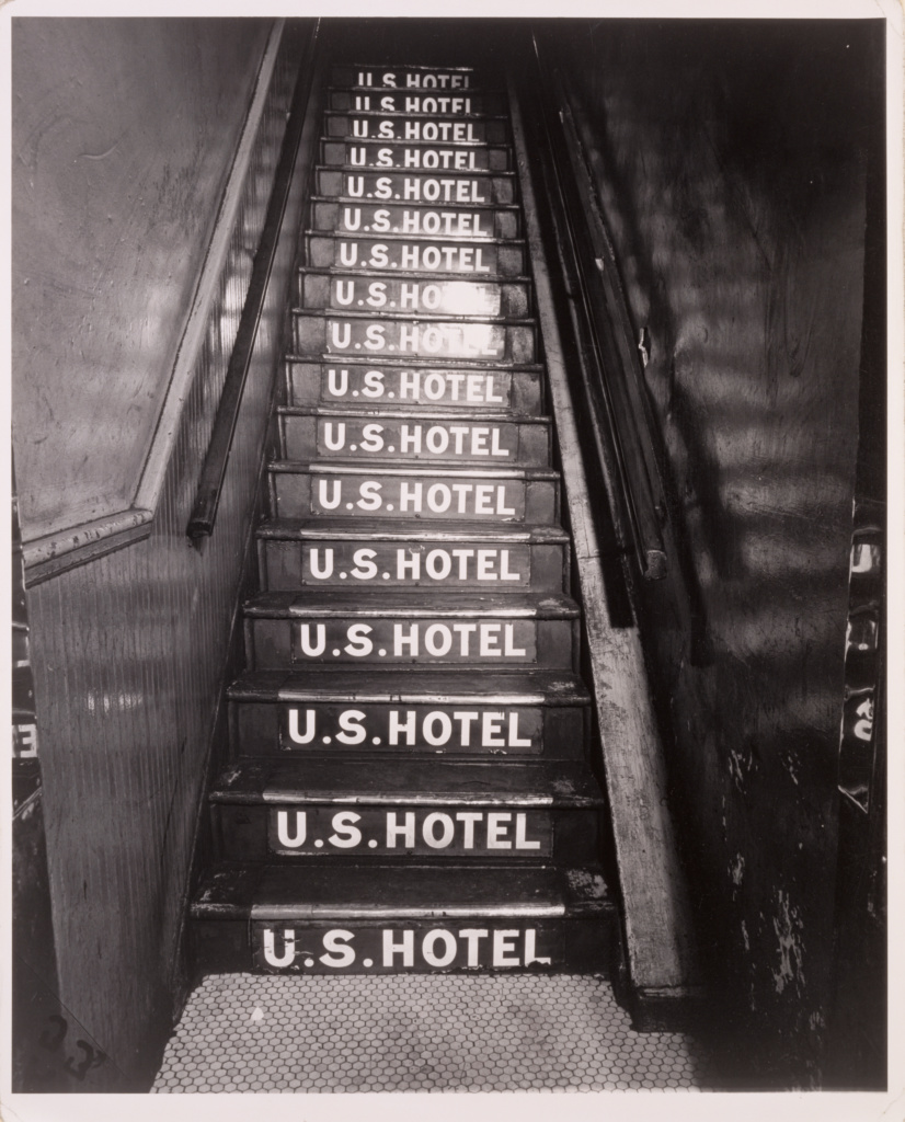 U.S. Hotel at 263 Bowery; Weegee (Arthur Fellig) (American, born Austria, 1899 - 1968); New York, New York, United States; negative about 1944; print about 1950; Gelatin silver print; 33.3 × 27.3 cm (13 1/8 × 10 3/4 in.); 84.XM.190.14; The J. Paul Getty Museum, Los Angeles; Rights Statement: In Copyright; Copyright: © International Center of Photography