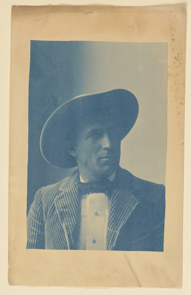 [Portrait of Charles Fletcher Lummis]; Aemilian Scholl (American, active Los Angeles, California 1896), Charles F. Lummis (American, 1859 - 1928); 1897; Cyanotype; 15 × 9.8 cm (5 7/8 × 3 7/8 in.); 84.XM.211.62; The J. Paul Getty Museum, Los Angeles; Rights Statement: No Copyright - United States