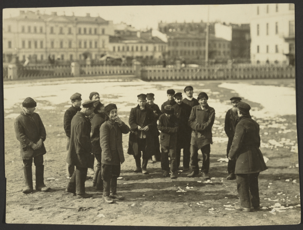 A group of St. Petersburg hooligans pitching pennies.; Karl Karlovitz Bulla (Russian, 1854 - 1929); about 1910; Gelatin silver print; 15.6 × 18.2 cm (6 1/8 × 7 1/8 in.); 84.XP.224.1; The J. Paul Getty Museum, Los Angeles; Rights Statement: No Copyright - United States