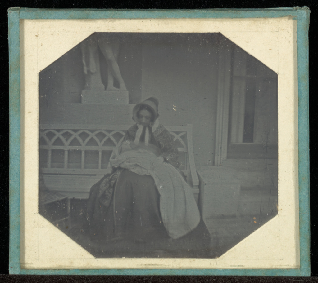 [Portrait of a woman with a baby]; Jean-Gabriel Eynard (Swiss, 1775 - 1863); about 1843; Daguerreotype; 6.1 × 6.5 cm (2 3/8 × 2 9/16 in.); 84.XT.255.52; The J. Paul Getty Museum, Los Angeles; Rights Statement: No Copyright - United States