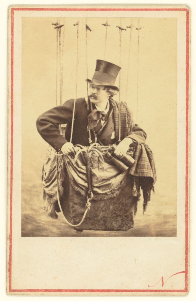 [Felix Nadar in the Gondola of a Balloon]; Nadar [Gaspard Félix Tournachon] (French, 1820 - 1910); about 1863; Albumen silver print; 7.8 × 5.6 cm (3 1/16 × 2 3/16 in.); 84.XM.343.1; Rights Statement: No Copyright - United States