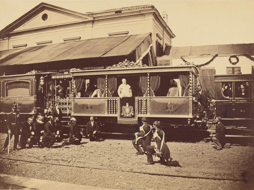 [Pope Pius IX's Private Train at Velletri]; Altobelli & Molins (Italian, active until 1865); 1863; Albumen silver print; 26.4 × 35.2 cm (10 3/8 × 13 7/8 in.); 84.XP.373.2; The J. Paul Getty Museum, Los Angeles; Rights Statement: No Copyright - United States