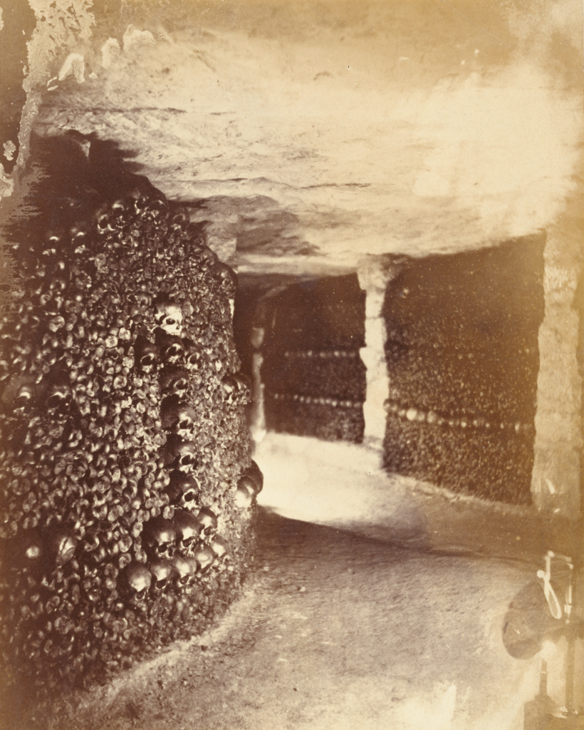 [View in the Catacombs]; Nadar [Gaspard Félix Tournachon] (French, 1820 - 1910); Paris, France; 1861; Albumen silver print; 22.6 × 18.1 cm (8 7/8 × 7 1/8 in.); 84.XM.436.481; The J. Paul Getty Museum, Los Angeles; Rights Statement: No Copyright - United States