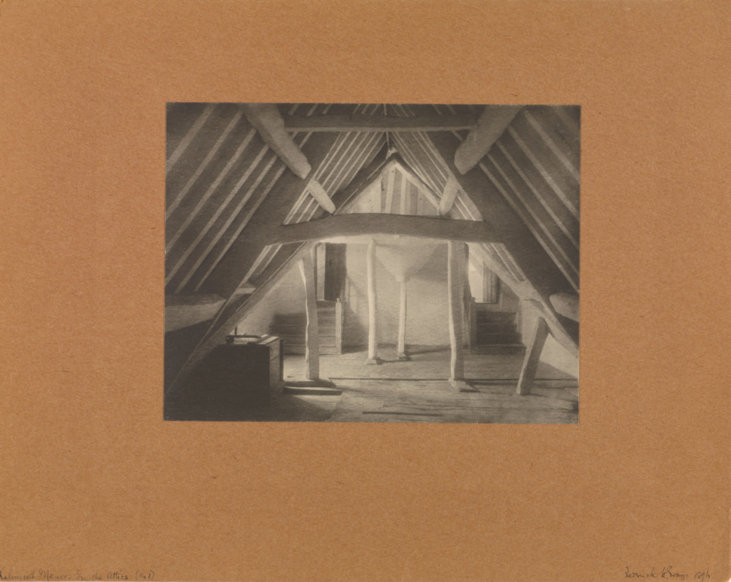 Kelmscott Manor: In the Attics (No. 1).; Frederick H. Evans (British, 1853 - 1943); 1896; Platinum print; 15.6 × 20.2 cm (6 1/8 × 7 15/16 in.); 84.XM.444.89; The J. Paul Getty Museum, Los Angeles; Rights Statement: No Copyright - United States
