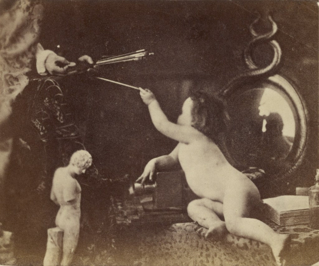 The Infant Photography Giving the Painter an Additional Brush; Oscar Gustave Rejlander (British, born Sweden, 1813 - 1875); London, England; about 1856; Albumen silver print; 6 × 7.1 cm (2 3/8 × 2 13/16 in.); 84.XP.458.34; The J. Paul Getty Museum, Los Angeles; Rights Statement: No Copyright - United States