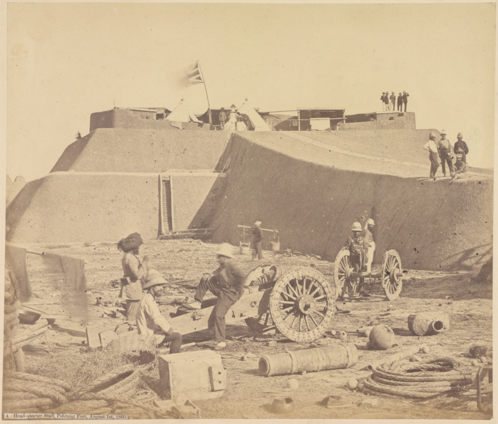 Headquarter Staff, Pehtung Fort, August 1st, 1860; Felice Beato (English, born Italy, 1832 - 1909); August 1, 1860; Albumen silver print; 25.5 × 30 cm (10 1/16 × 11 13/16 in.); 84.XM.473.27; The J. Paul Getty Museum, Los Angeles; Rights Statement: No Copyright - United States