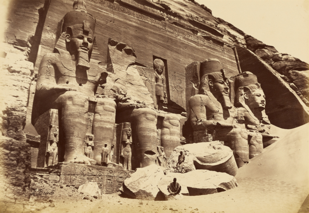 [Nubia - Temple of Abu Simbel]; Antonio Beato (English, born Italy, about 1835 - 1906); 1880–1889; Albumen silver print; 25.1 × 36.4 cm (9 7/8 × 14 5/16 in.); 84.XM.473.1; The J. Paul Getty Museum, Los Angeles; Rights Statement: No Copyright - United States