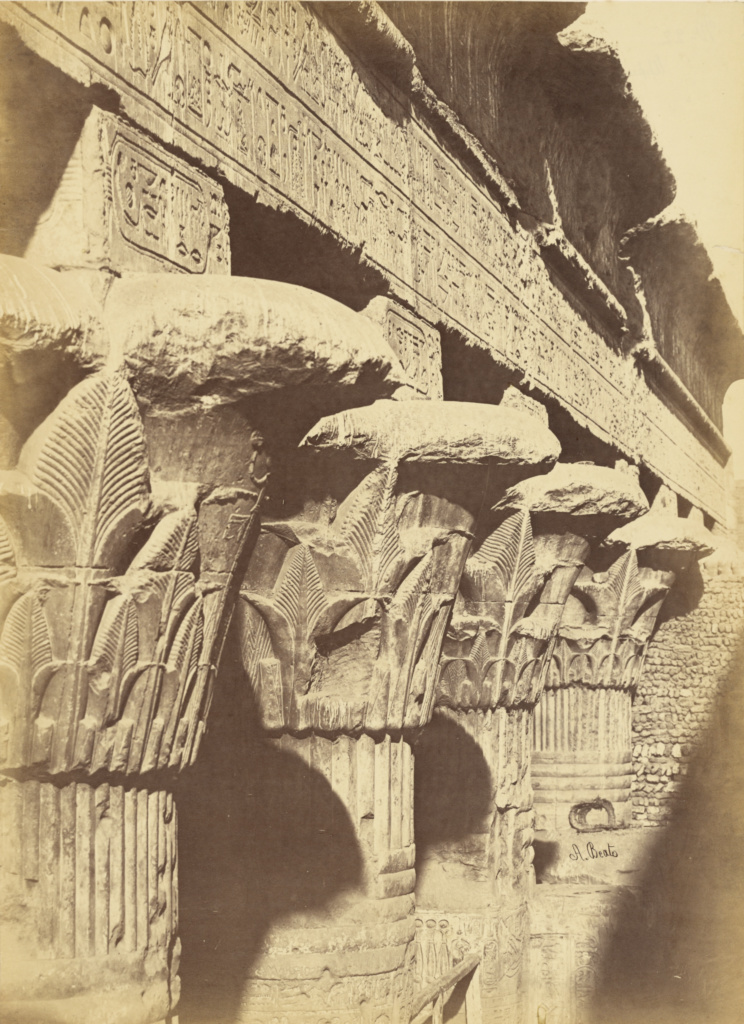 [Upper Egypt - Temple of Esna]; Antonio Beato (English, born Italy, about 1835 - 1906); 1880 - 1889; Albumen silver print; 35.8 × 26.2 cm (14 1/8 × 10 5/16 in.); 84.XM.473.5; The J. Paul Getty Museum, Los Angeles; Rights Statement: No Copyright - United States