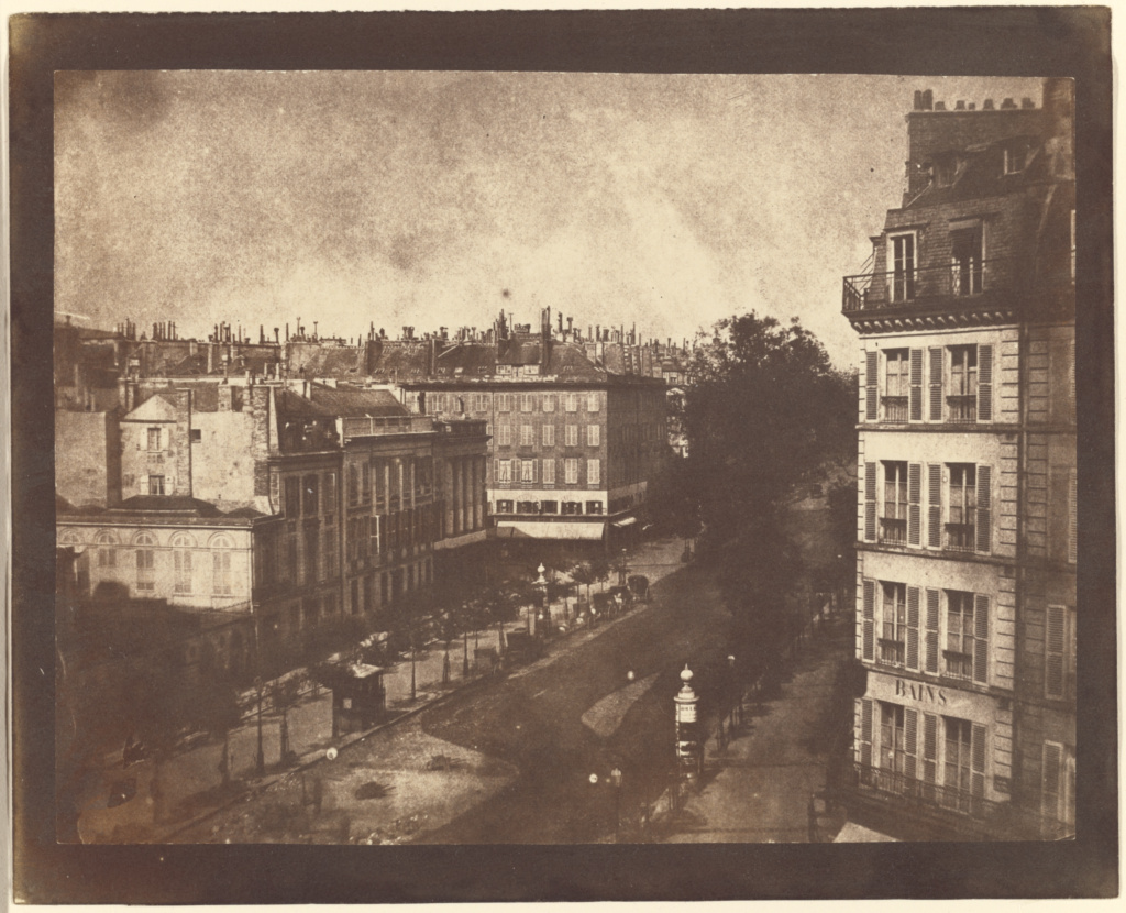 [The Boulevards of Paris]; William Henry Fox Talbot (English, 1800 - 1877); Paris, France; May 1843; Salted paper print; 16.4 × 21.4 cm (6 7/16 × 8 7/16 in.); 84.XM.478.8; The J. Paul Getty Museum, Los Angeles; Rights Statement: No Copyright - United States