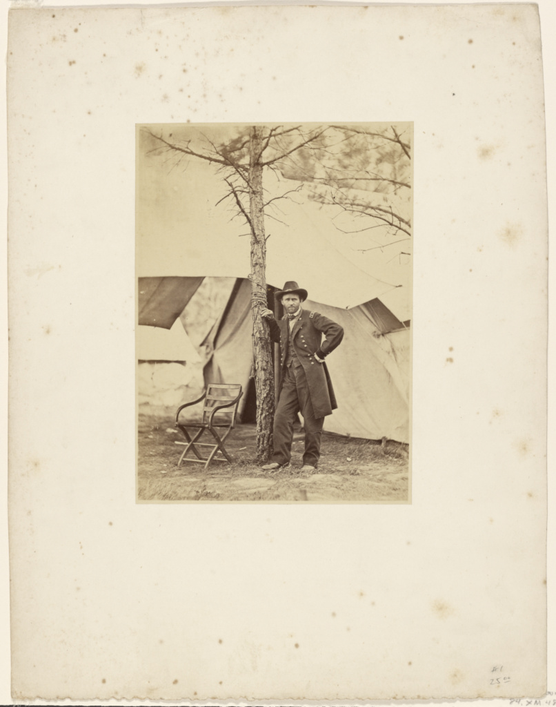 [Lieut. Gen. Grant at his Cold Harbor Headquarters]; Egbert Guy Fowx (American, 1821 - 1889); City Point, Virginia, United States; August 1864; Albumen silver print; 16.8 × 12.2 cm (6 5/8 × 4 13/16 in.); 84.XM.484.24; The J. Paul Getty Museum, Los Angeles; Rights Statement: No Copyright - United States