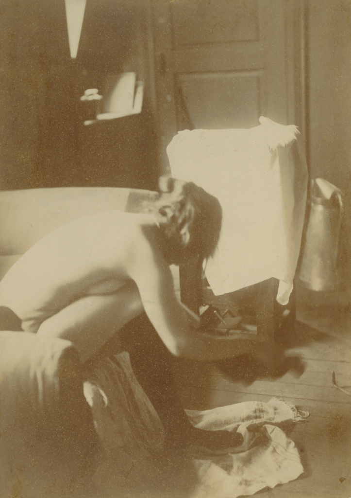 [Seated Nude]; Attributed to Edgar Degas (French, 1834 - 1917); 1895; Gelatin silver print; 17 × 12.1 cm (6 11/16 × 4 3/4 in.); 84.XM.495.1; The J. Paul Getty Museum, Los Angeles; Rights Statement: No Copyright - United States