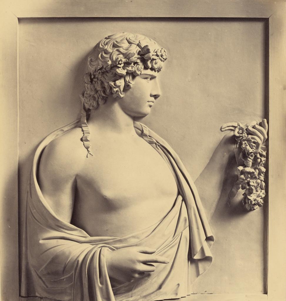 [Antinous - bas relief, Villa Albani]; Robert Macpherson (Scottish, 1811 - 1872); 1860s; Albumen silver print; 27.5 × 24.4 cm (10 13/16 × 9 5/8 in.); 84.XM.502.32; The J. Paul Getty Museum, Los Angeles; Rights Statement: No Copyright - United States