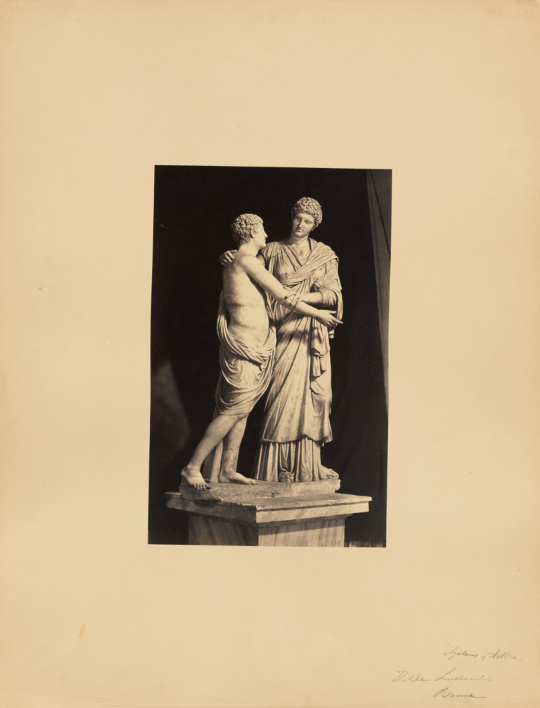 [classical sculpture of woman and son]; James Anderson (British, 1813 - 1877); Rome, Italy; about 1845 - 1855; Albumen silver print; 34 × 21.4 cm (13 3/8 × 8 7/16 in.); 84.XM.635.32; The J. Paul Getty Museum, Los Angeles; Rights Statement: No Copyright - United States