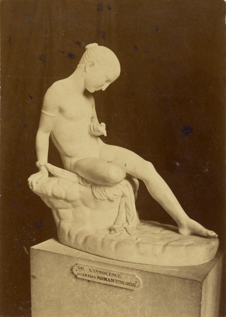 [L'Innocence by J.B.P. Roman, at the Louvre]; Tommaso Cuccioni (Italian, 1790 - 1864); Paris, France; about 1852 - 1864; Albumen silver print; 14 × 10 cm (5 1/2 × 3 15/16 in.); 84.XM.636.23; The J. Paul Getty Museum, Los Angeles; Rights Statement: No Copyright - United States