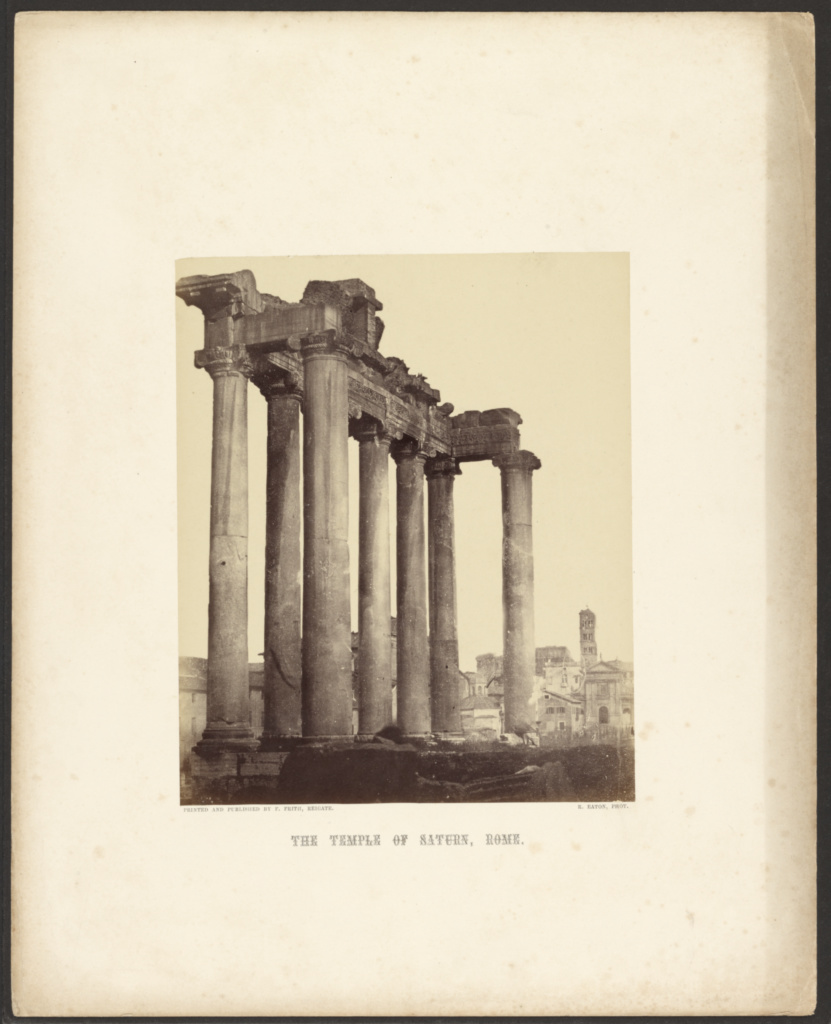 The Temple of Saturn, Rome; Robert Eaton (British, 1819 - 1871); Rome, Italy; about 1860; Albumen silver print; 20.3 × 16.5 cm (8 × 6 1/2 in.); 84.XP.675.49; The J. Paul Getty Museum, Los Angeles; Rights Statement: No Copyright - United States