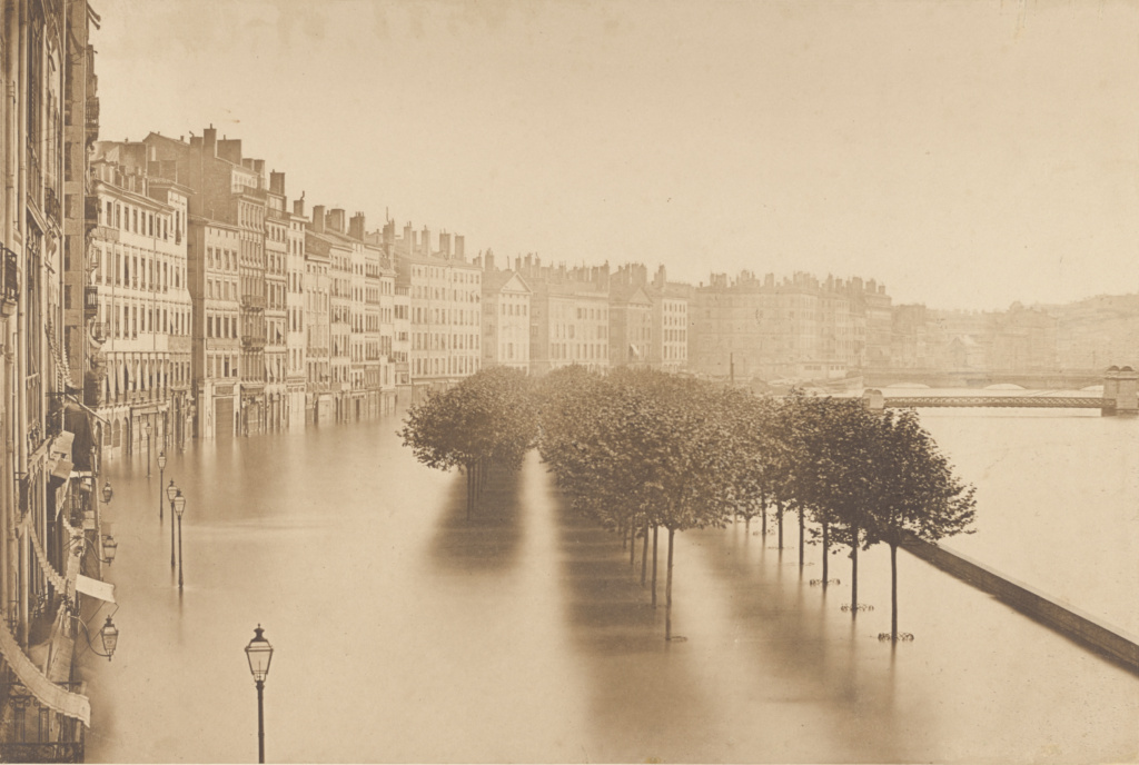 [A Flood in Lyon]; Louis-Antoine Froissart (French, 1815 - 1860); Lyon, France; 1856; Albumen silver print from a wet collodion glass negative; 22.5 × 33.3 cm (8 7/8 × 13 1/8 in.); 84.XP.720.50; The J. Paul Getty Museum, Los Angeles; Rights Statement: No Copyright - United States