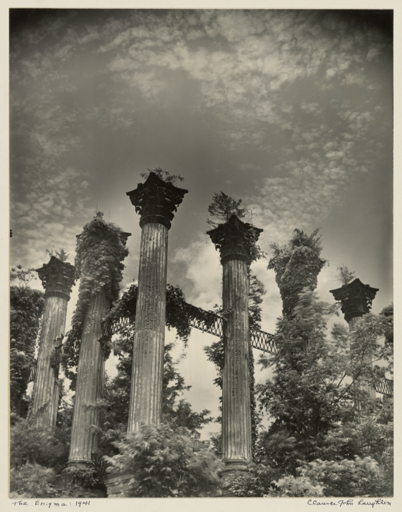 The Enigma.; Clarence John Laughlin (American, 1905 - 1985); negative 1941; print December 30, 1953; Gelatin silver print; 34.1 × 26.8 cm (13 7/16 × 10 9/16 in.); 84.XP.789.3; The J. Paul Getty Museum, Los Angeles; Rights Statement: In Copyright; Copyright: © The Historic New Orleans Collection