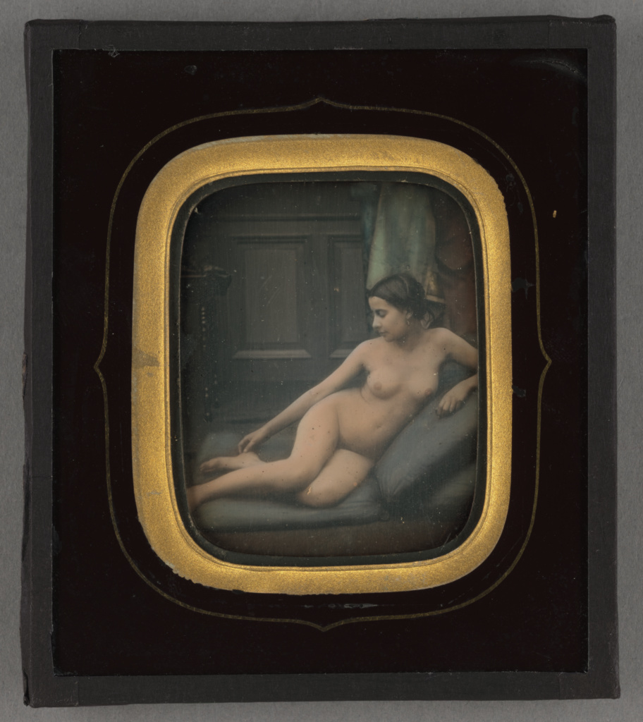 [Female nude reclining]; Unknown maker, French; 1856–1858; Daguerreotype, hand-colored; 84.XT.818.13; The J. Paul Getty Museum, Los Angeles; Rights Statement: No Copyright - United States