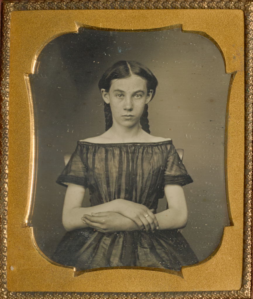[Portrait of a Seated Girl]; Unknown maker, American; about 1850; Daguerreotype; 6.5 × 5.2 cm (2 9/16 × 2 1/16 in.); 84.XT.836.52; The J. Paul Getty Museum, Los Angeles; Rights Statement: No Copyright - United States
