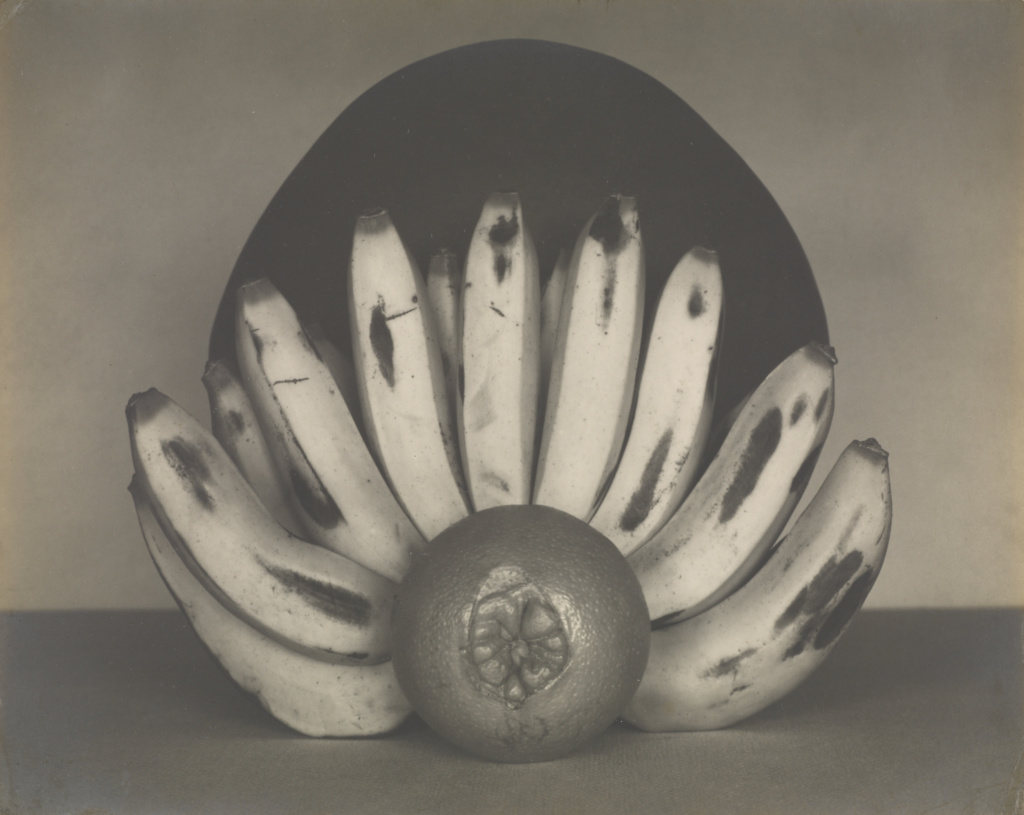 Bananas and Orange; Edward Weston (American, 1886 - 1958); April 1927; Gelatin silver print; 18.9 × 23.7 cm (7 7/16 × 9 5/16 in.); 84.XM.860.4; The J. Paul Getty Museum, Los Angeles; Rights Statement: In Copyright; Copyright: © 1981 Arizona Board of Regents, Center for Creative Photography