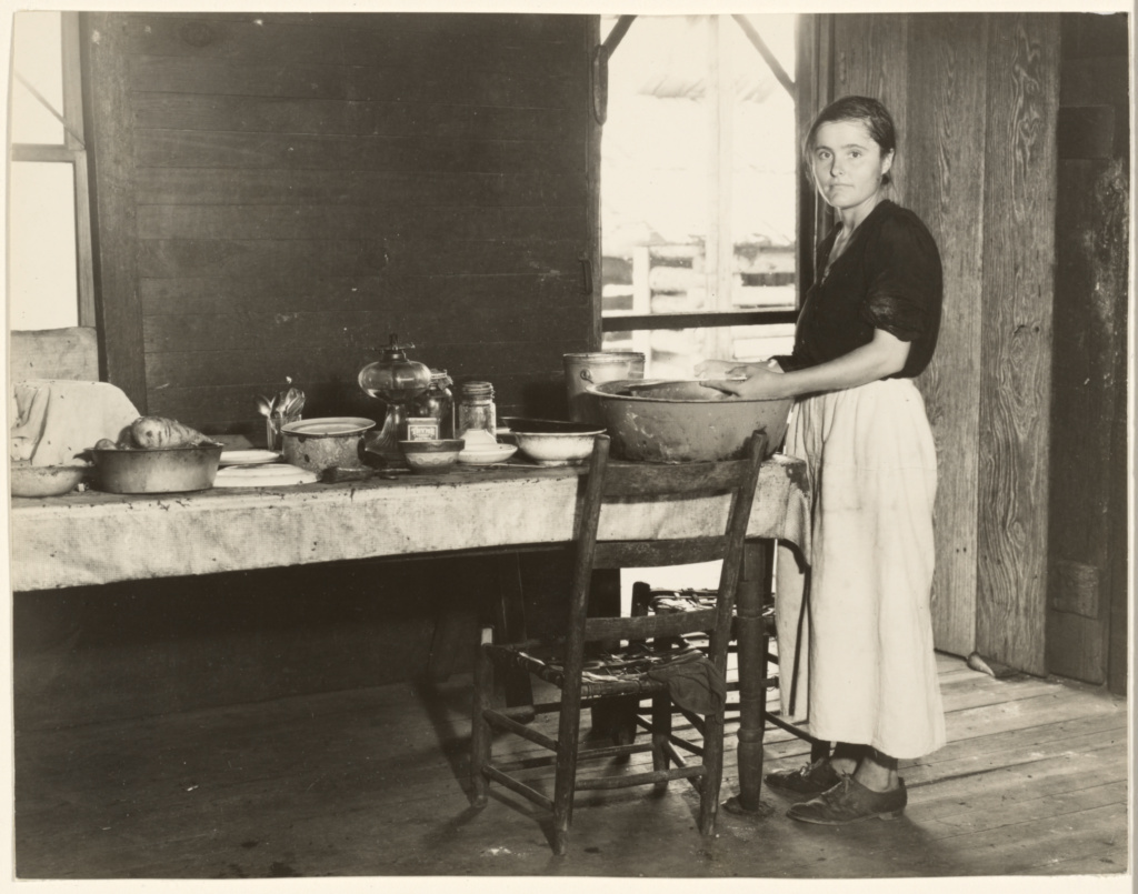 [Elizabeth Tengle at the Kitchen Table]/[Paralee Ricketts Working in the Kitchen]; Walker Evans (American, 1903 - 1975); 1936; Gelatin silver print; 17.5 × 22.5 cm (6 7/8 × 8 7/8 in.); 84.XM.956.325; The J. Paul Getty Museum, Los Angeles; Rights Statement: No Copyright - United States