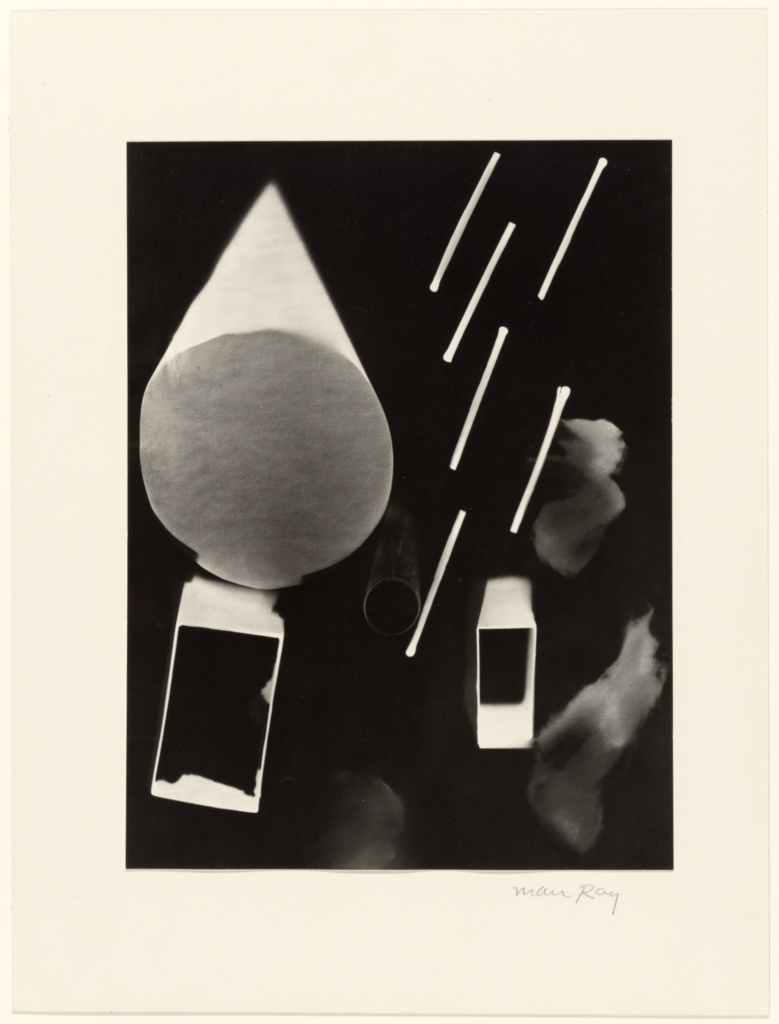 [Matches and Cones]; Man Ray (American, 1890 - 1976); negative 1925; print 1963; Gelatin silver print; 28.9 × 21.7 cm (11 3/8 × 8 9/16 in.); 84.XM.1000.27; The J. Paul Getty Museum, Los Angeles; Rights Statement: In Copyright; Copyright: © Man Ray Trust ARS-ADAGP