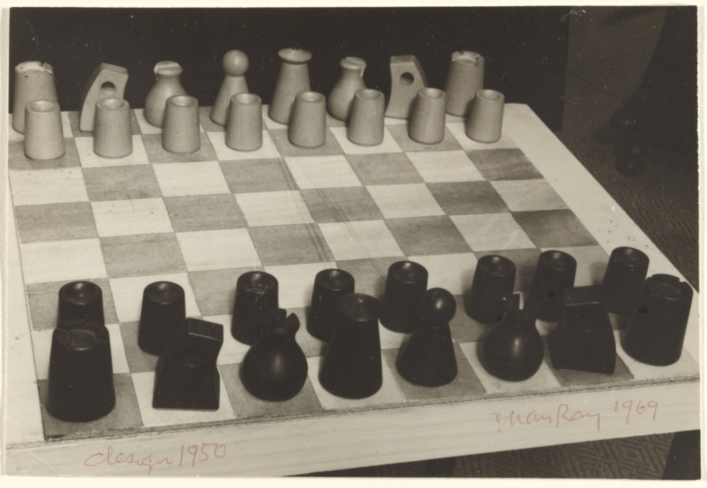 [Man Ray's designed chess set from 1950]; Man Ray (American, 1890 - 1976); 1969; Gelatin silver print; 10.5 × 15.6 cm (4 1/8 × 6 1/8 in.); 84.XM.1000.110; The J. Paul Getty Museum, Los Angeles; Rights Statement: In Copyright; Copyright: © Man Ray Trust ARS-ADAGP