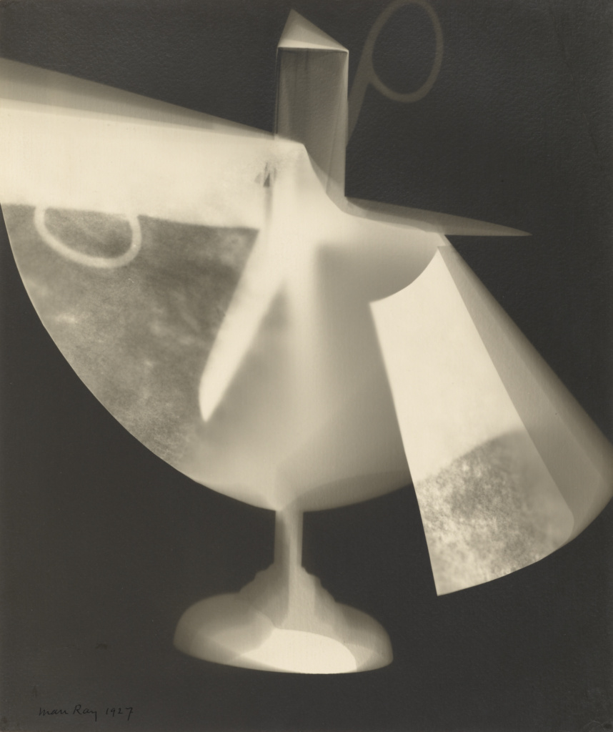Untitled Rayograph [Scissors and cut paper]; Man Ray (American, 1890 - 1976); 1927; Gelatin silver print; 30.2 × 25.2 cm (11 7/8 × 9 15/16 in.); 84.XM.1000.169; The J. Paul Getty Museum, Los Angeles; Rights Statement: In Copyright; Copyright: © Man Ray Trust ARS-ADAGP