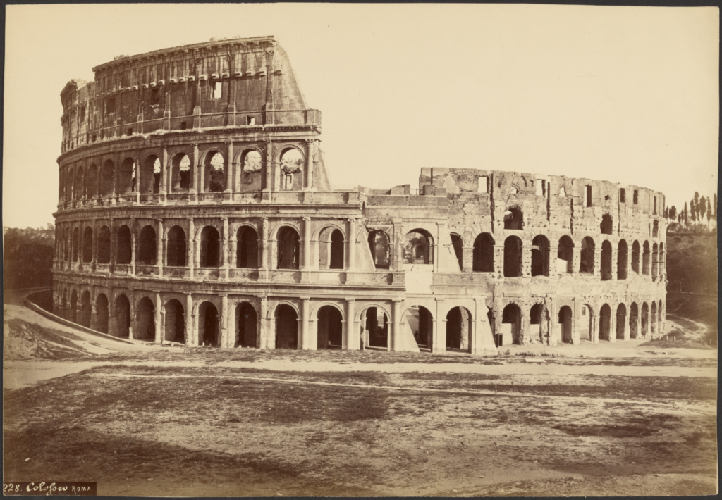 Colosseum, Rome; Unknown maker, Italian; Rome, Italy; about 1860–1870; Albumen silver print; 25.3 × 36.5 cm (9 15/16 × 14 3/8 in.); 84.XP.1148.4; The J. Paul Getty Museum, Los Angeles; Rights Statement: No Copyright - United States