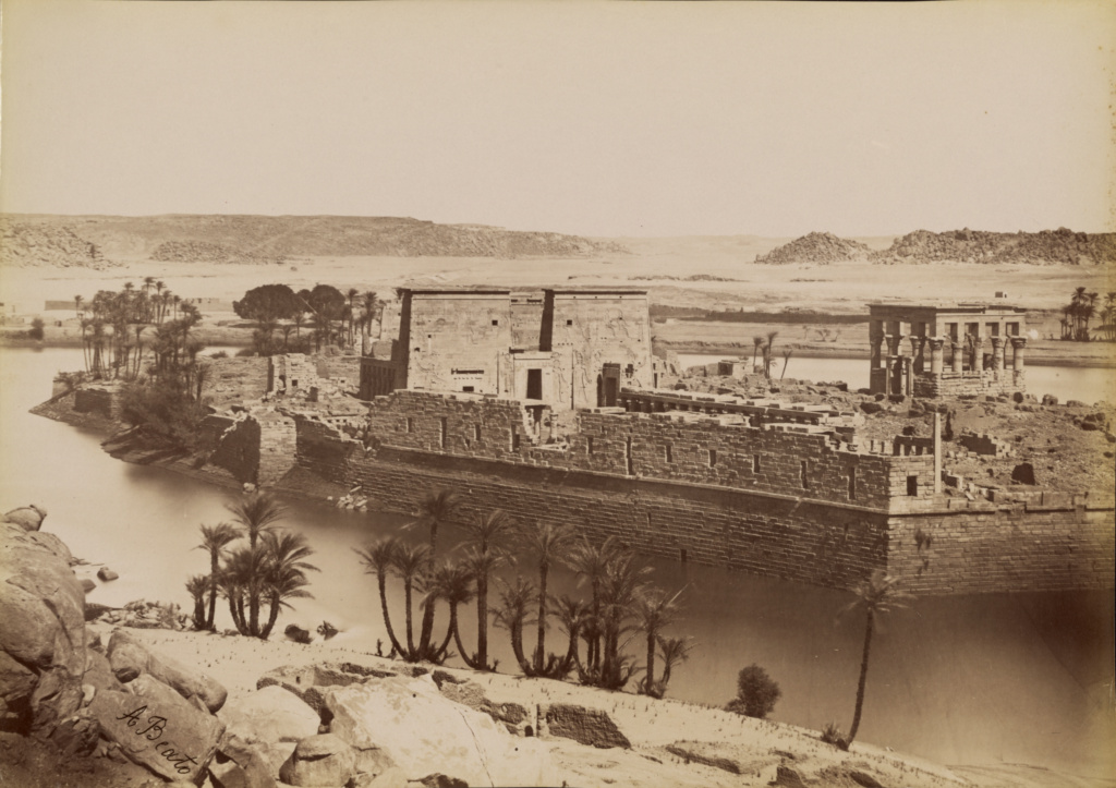[East View of Philae] / [Phile, Vue d'Est]; Antonio Beato (English, born Italy, about 1835 - 1906); 1880 - 1889; Albumen silver print; 25.2 × 35.8 cm (9 15/16 × 14 1/8 in.); 84.XM.1382.34; The J. Paul Getty Museum, Los Angeles; Rights Statement: No Copyright - United States